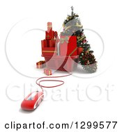3d Computer Mouse Wired To A Christmas Tree With A Basket Of Gifts And A Wreath