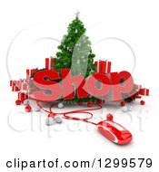 3d Christmas Tree With A Computer Mouse SHOP Text Baubles And Gifts