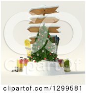 3d Christmas Tree With Sign Posts Luggage Skis And A Snowboard