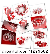 Snap Shots Of 3d Christmas Or Birthday Gifts On White