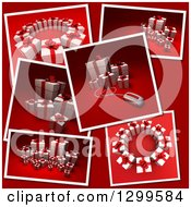 Snap Shots Of 3d Christmas Or Birthday Gifts On Red