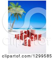 3d Group Of Birthday Or Christmas Gifts On A Tropical Beach