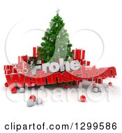 3d Christmas Tree With Baubles Gifts And FROHE WEIHNACHTEN Text Over Torn Red Paper