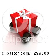 3d Red Birthday Or Christmas Gift On Wheels