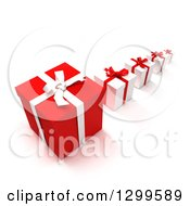 3d Row Of Large To Small Red Christmas Or Birthday Gifts On White