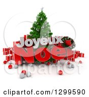 3d Christmas Tree With Baubles Gifts And Joyeux Noel Text