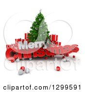 3d Tree With Baubles Gifts And MERRY CHRISTMAS Text