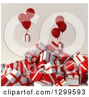 Clipart Of A 3d Pile Of White And Red Christmas Gifts With Party Balloons Royalty Free Illustration