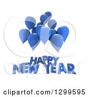 Clipart Of 3d Blue Party Balloons With Happy New Year Text On White Royalty Free Illustration