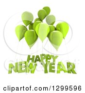 Clipart Of 3d Green Party Balloons With Happy New Year Text On White Royalty Free Illustration