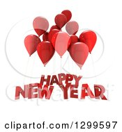 Clipart Of 3d Red Party Balloons With Happy New Year Text On White Royalty Free Illustration