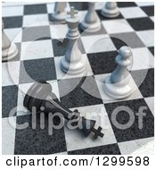 Clipart Of A 3d Chess Game Check Mate Royalty Free Illustration