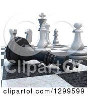 Clipart Of A 3d Chess Game Check Mate On White Royalty Free Illustration