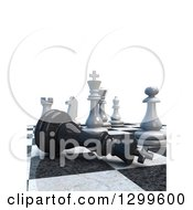 Clipart Of A 3d Chess Game Check Mate With Text Space On White Royalty Free Illustration