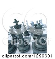 Clipart Of A 3d Chess Game With A Pawn Down With Text Space On White Royalty Free Illustration