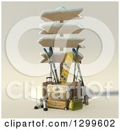 Clipart Of A 3d Sign Post With Luggage And Winter Snowboarding And Skiing Gear Royalty Free Illustration