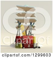 Clipart Of A 3d Sign Post With Luggage And Winter Snowboarding And Skiing Gear 2 Royalty Free Illustration