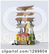 Clipart Of A 3d Sign Post With Luggage And Winter Snowboarding And Skiing Gear 3 Royalty Free Illustration