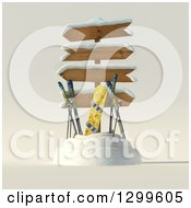 Clipart Of A 3d Sign Post With Winter Snowboarding And Skiing Gear Royalty Free Illustration