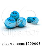 Clipart Of 3d Blue Smiley Balls With Different Sketched Expressions Royalty Free Illustration