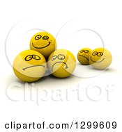 Clipart Of A 3d Yellow Smiley Face Balls With Different Expressions Royalty Free Illustration