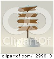 Clipart Of A 3d Wooden Winter Sign Post With Snow Royalty Free Illustration