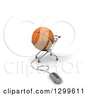 Clipart Of A 3d Mouse Connected To A Basketball In A Shopping Cart Over White Royalty Free Illustration