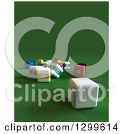 Clipart Of A 3d Square Billiards Cue Ball Near Scatted Square Balls On Green With Text Space Royalty Free Illustration