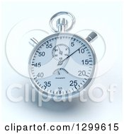 Clipart Of A Ticking Silver Stop Watch With Shading On White Royalty Free Illustration