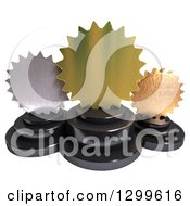 Clipart Of 3d Burst Shaped Gold Bronze And Silver Trophy Awards On White Royalty Free Illustration