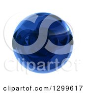 3d Blue Marble Ball Or Sphere On White
