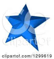 Clipart Of A 3d Blue Star On White Royalty Free Illustration by Frank Boston