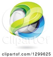 Clipart Of A 3d Floating Sphere With Green And Blue Waves And A Shadow Royalty Free Vector Illustration