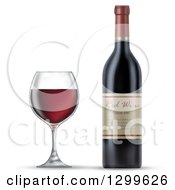 Clipart Of A 3d Bottle And Glass Of Red Wine Royalty Free Illustration