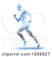 Clipart Of A 3d Anatomic Running Man With Visible Muscles Over White Royalty Free Illustration