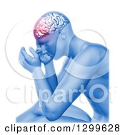 Poster, Art Print Of 3d Anatomical Man With Head Pain And Visible Brain On White