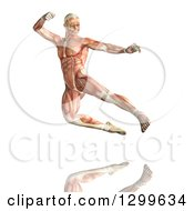 Clipart Of A 3d Anatomical Man Kick Boxing With Visible Muscles Over White Royalty Free Illustration