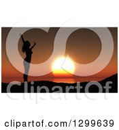 Clipart Of A 3d Silhouetted Carefree Woman Holding Her Arms Up Against An Orange Ocean Sunset Royalty Free Illustration