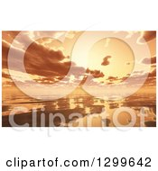 Clipart Of A 3d Dramatic Orange Sunset And Clouds Reflecting Off Of The Ocean Royalty Free Illustration by KJ Pargeter