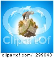 3d Elephant On Top Of A Rocky Globe Over Earth