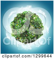3d Globe Covered In Grass And Flowers On Blue
