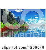 Clipart Of A 3d Coastline With Rocky Cliffs And Autumn Trees Reflecting Royalty Free Illustration
