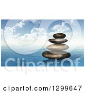 Clipart Of A Stack Of 3d Stones On The Ocean Royalty Free Illustration by KJ Pargeter