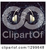 Clipart Of A 3d Grid Globe With Headphones Over Sparkles On Black Royalty Free Illustration