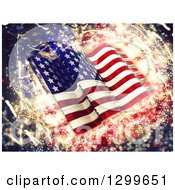 Clipart Of A 3d Glass American Flag Over Sparkles Royalty Free Illustration by KJ Pargeter