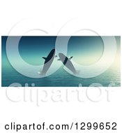Clipart Of 3d Whales Jumping At Sea Royalty Free Illustration