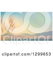 Clipart Of 3d Stalks Of Wheat Against A Valley With Sunrise Tones Royalty Free Illustration