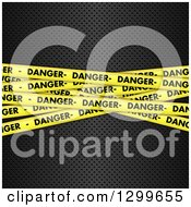 Clipart Of A Background Of 3d Diagonal Yellow Danger Tapes On Perforated Metal Royalty Free Vector Illustration by KJ Pargeter