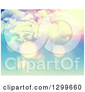 Clipart Of A Pink And Blue Sunshine And Flares Sky Background Royalty Free Illustration