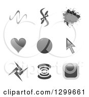 Clipart Of Grayscale Grunge Abstract Cursor Heart And Signal Website Icons Royalty Free Vector Illustration